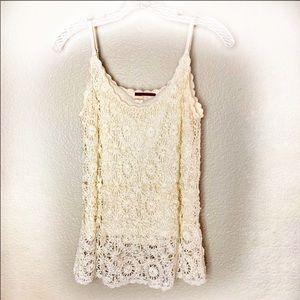 Anthro TapeMeasure Crochet Lace Cream Tank Large